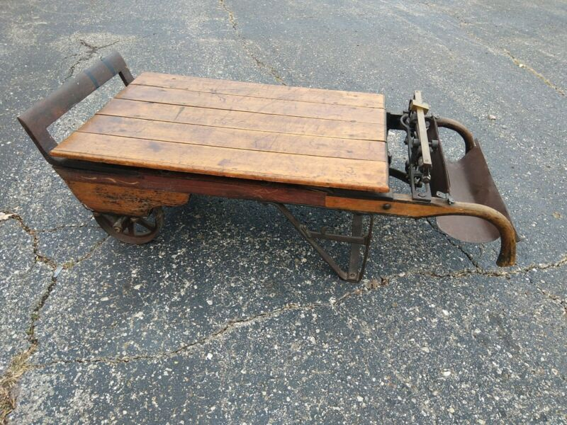 "Antique Renfrew Platform Farm Industrial Grain Scale Coffee Table Cart 54x24x14"""