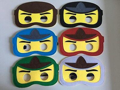 Ninjago themed  Ninja kids boys felt Masks fancy dress birthday party 6 colours ()