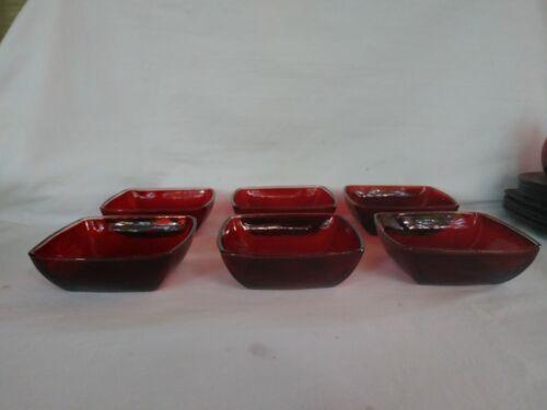 "6 Vintage Anchor Hocking Charm Ruby Red Fruit/Dessert Bowls @ 4 3/4"" x 1 1/2"""