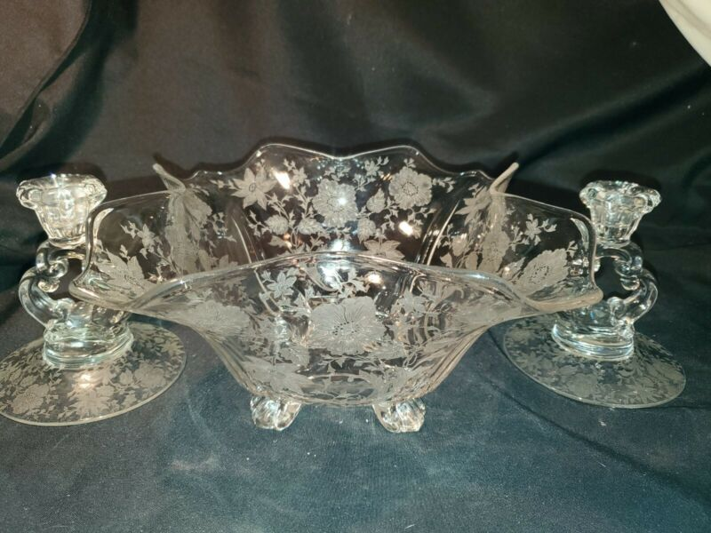 3pc GREAT GIFT CENTERPIECE BOWL CANDLE HOLDERS VTG Cambridge Wildflower Etched