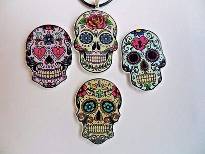 Sugar Skull Tag der Toten Tattoo Leder Silber Halskette Auswahl Vier
