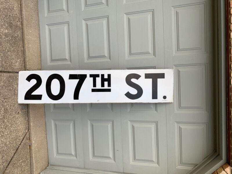 Vtg New York City Subway Porcelain Train Station Sign 207th St Manhattan NELKE