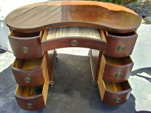 ANTIQUE MADDOX COLONIAL KIDNEY SHAPED DESK