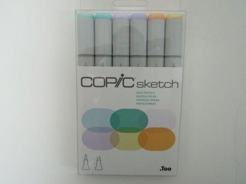 COPIC Sketch Marker Set, 6 pens PALE PASTELS tone, alcohol marker, NEW