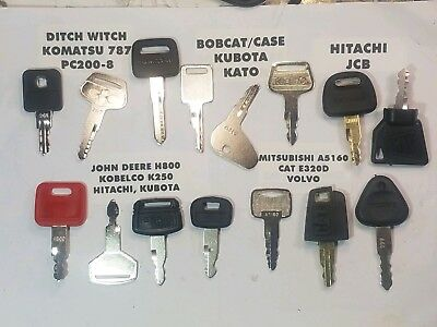 15 Equipment Key Set John Deere Cat Jcb Komatsu Volvo Kubota Hitachi