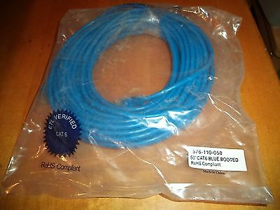 4 Pair Blue Patch Cable (NEW Category 6 Patch Cable Blue 50 ft 576-110-050 CAT6 Booted 4 Pair UTP 24 AWG )