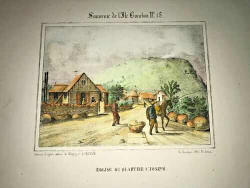 REUNION ISLAND SAINT JOSEPH 1847 ROUSSIN LARGE NICE ANTIQUE VIEW 19TH CENTURY