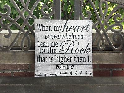 Inspirational Scripture Sign, Bible Verse, Psalm 61:2, Spiritual Gift ()