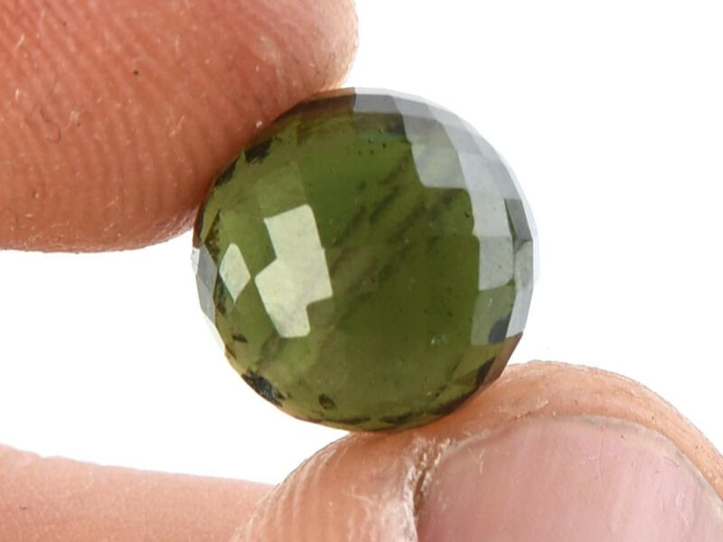 1.46g bead DRILLED MOLDAVITE FACETED CUTTED GEM 10.8mm #BRUS1802