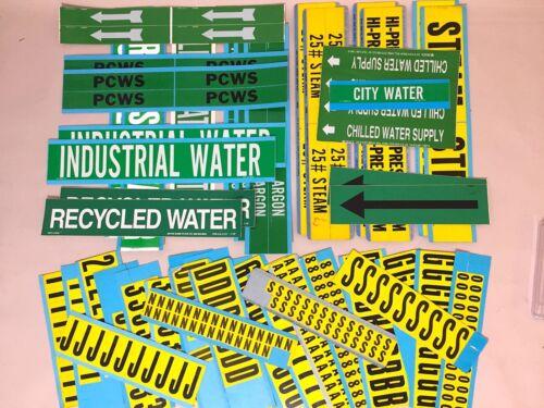 Brady Nylon/Vinyl Pipe Markers Labels Steam Water Argon Letters Numbers Arrows