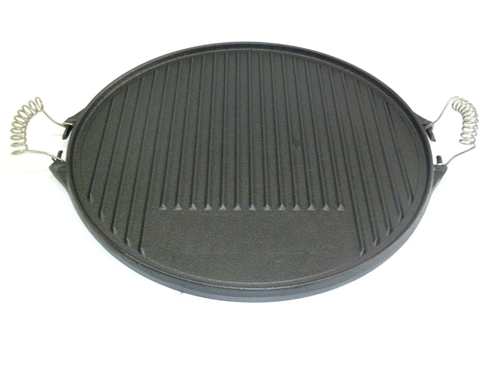 Grillplatte rund Ø 43 cm aus Gusseisen Grillwendeplatte beidseitig verwendbar