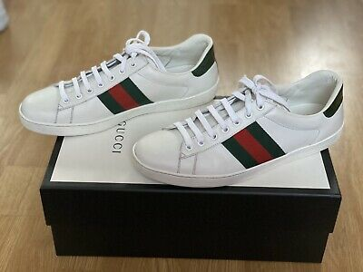 GUCCI ACE LEATHER SNEAKERS WHITE SIZE UK 8