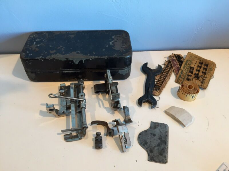 Vintage 1900 Model 27 SINGER Sewing Machine Accessories Attachments and Tin Box