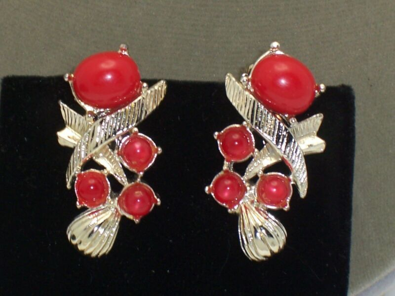 Vintage Red Thermoset Moonglow Cabochon Clip Earrings