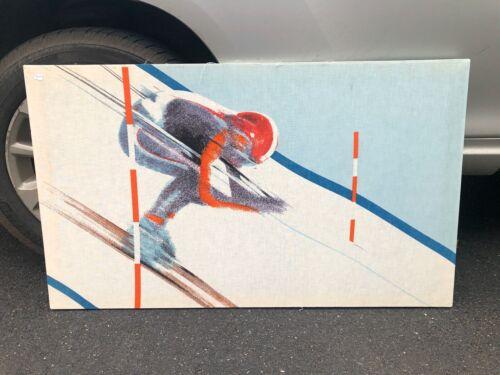 Vintage Downhill Skier Wall Art Print Fabric International Printworks 1980s