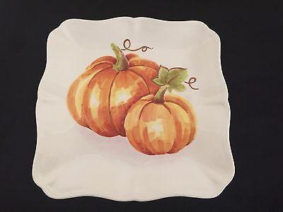 "Set/4 PUMPKIN PATCH 11"" Dinner Plates THANKSGIVING FALL Watercolor STONEWARE New"