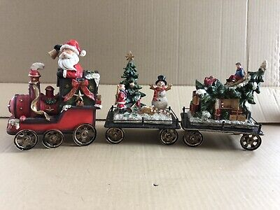 tii Collections Resin/Metal Holiday Train S/3 S0833 3 Piece Set Santa, Snowman