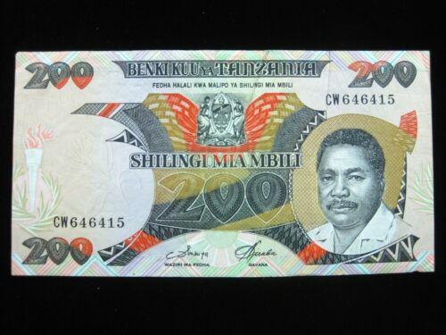 TANZANIA 200 SHILLING 1986 SHARP 15# Currency Bank Money Banknote