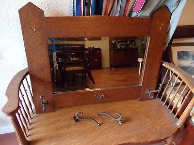Arts and Crafts Mission Oak Mirror w/Original Hooks. Stickley? (REDUCED)
