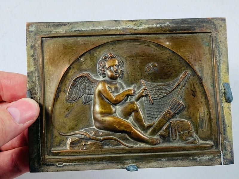 c.1800 Beautiful Antique Cast Angel baby bow arrow plaque relief sculpture