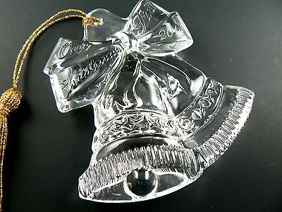 """CLEAR CYSTAL GLASS ORNAMENT """"OUR FIRST CHRISTMAS 2014"""" BELLS (A28)"""