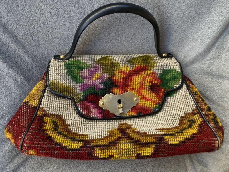 Vtg 1950's Koret Italy Wool Floral Needlepoint Handbag purse Multicolor