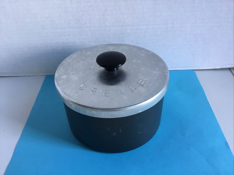 Vintage  3 Pc. Kitchen GREASE CONTAINER Can & STRAINER Bacon Drippings Aluminum