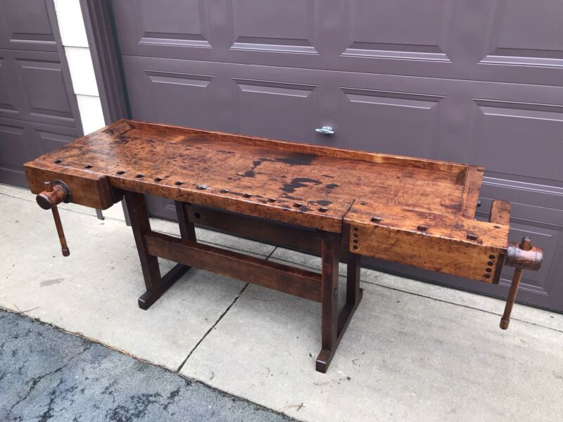 Antique Woodworkers Workbench Late 1800's, Restored, Kitchen Island Industrial