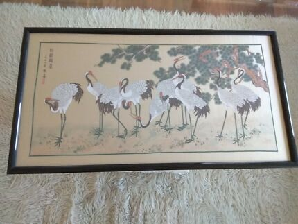 Artwork - framed hand stitched cranes (birds)