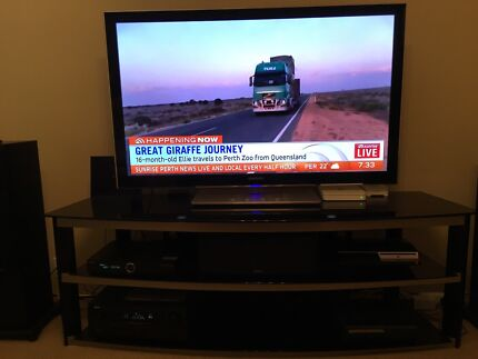 Samsung 55inch LED TV with glass entertainment unit