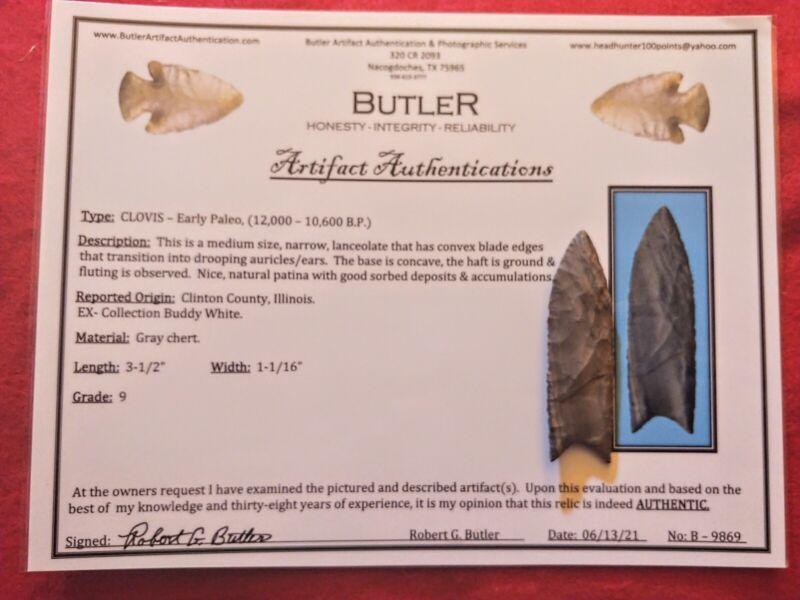 Clovis Arrowhead Pre 1600/Butler COA/Grade 9/Clinton CO. IILLINOIS.