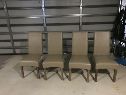 4x Beige PU Dining Chairs