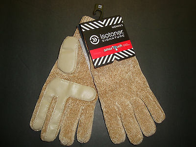 NEW $38 ISOTONER WOMEN'S SMARTOUCH CHENILLE KNIT GLOVES WITH PALMS CAMEL OS