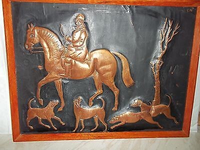 "Original Copper Portrait By Elizabeth Nash Of A Hunting Scene -16 1/2"" x 12 1/2"""
