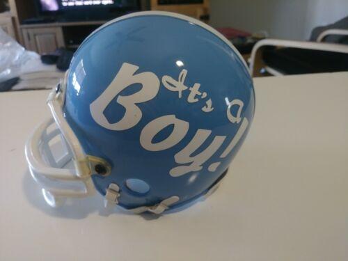 Custom Mini Football Helmet Blue & White IT