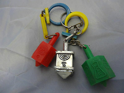 Lot Of 3 Delek Israel Vintage Key Chain Of A Dreidel Old Plastic   Bank Discount
