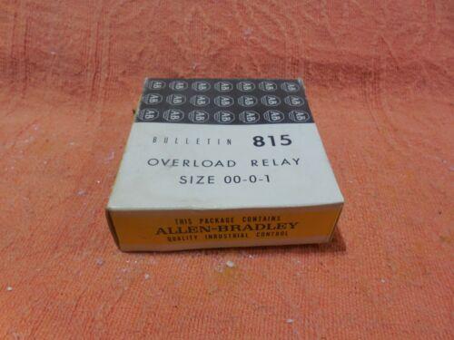 LOT OF 2 Allen-Bradley Control Bulletin 815 Overload Relay Size 00-0-1 (A&B)