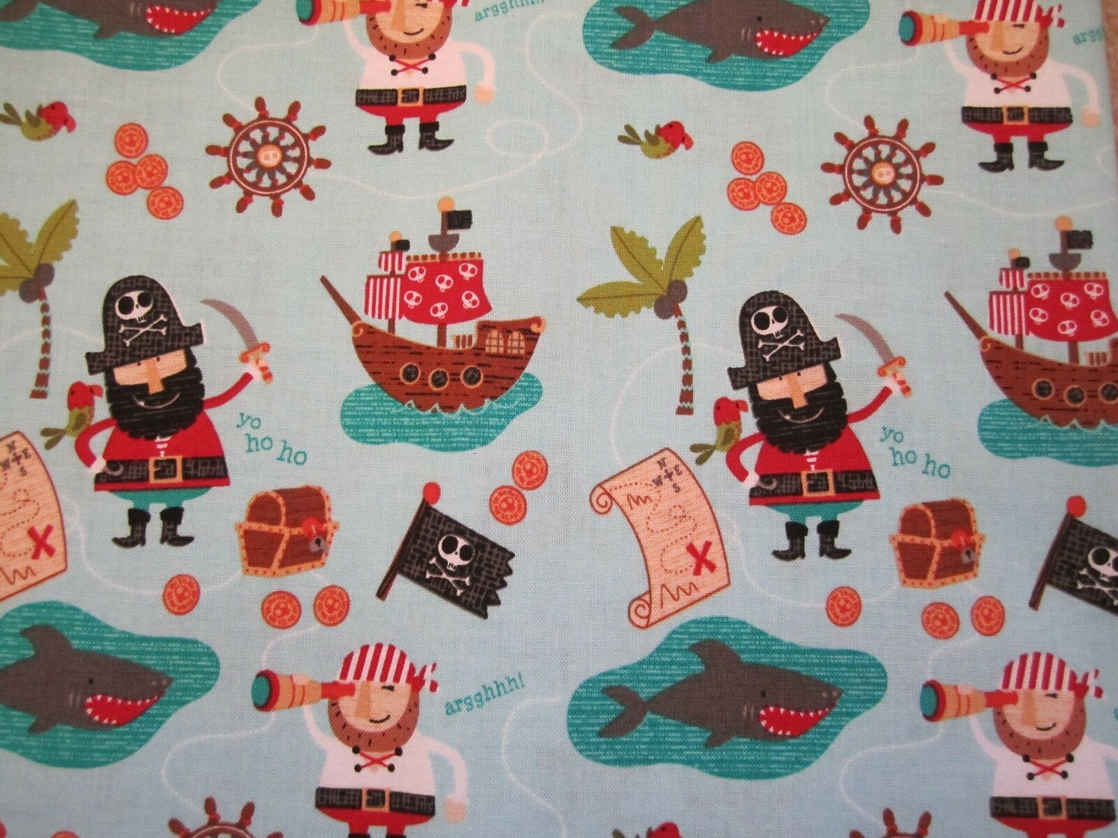 Blackbeard's Pirates on blue 100% cotton from Riley Blake
