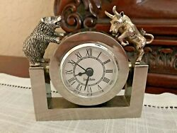 Vintage Silver Plated Neiman Marcus Desk Clock BULL & BEAR STOCK MARKET