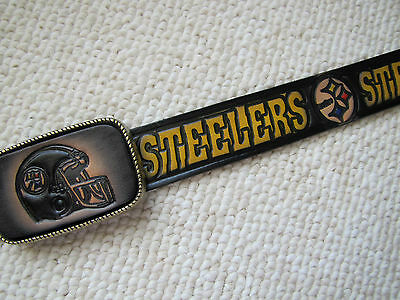 (PITTSBURGH STEELERS Genuine Leather Belt & Matching Buckle -cut to size )