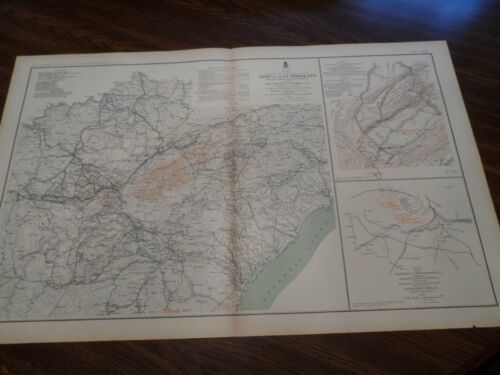 Antique Civil War Military Map Army of the Cumberland Campaigns 1861-65