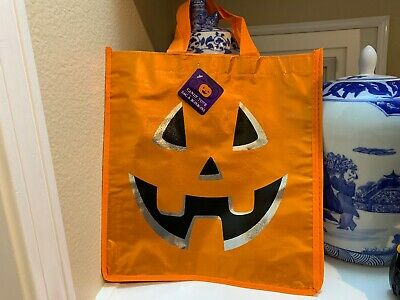 Halloween Treat Bag Tags (TRICK OR TREAT Halloween Candy Bag w/tags Pumpkin Cool Tote Handbag CANDY)
