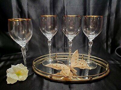 Lenox Crystal Monroe Water / Wine Glass Twisted Stemware Gold Rim - Set of 4