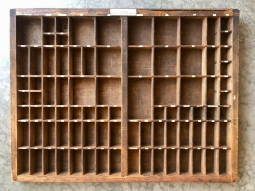 2/3rds size Antique Letterpress wooden TYPE TRAY w/ attached typed letters