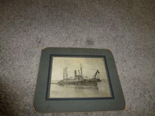Vintage Ship Photograph San Pedro Pacific North American Dredging Co of Nevada