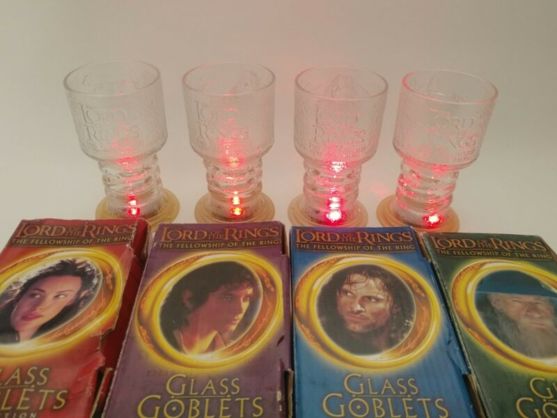 Lord of the Rings The Fellowship of the Ring Glass Goblets Set of 4 Burger King