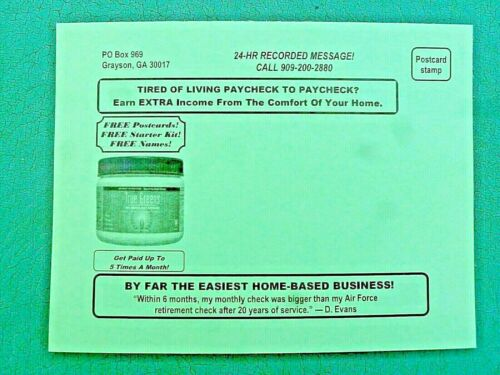 Postcard Mailing Business Opportunity Extra Income! Work From Home! 17 Year Co.