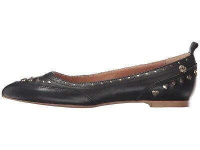 Love Moschino EU 39 US 8.5 - 9 Black Leather Heart Studded Flats $250 Moschino Leather Flats