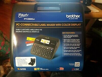 Brother Ptd600vp Pc Connectible Label Maker Printer With Case - Black P Touch