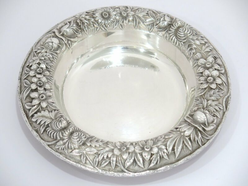 """7.25"""" Sterling Silver S. Kirk & Son Antique Floral Repousse Round Serving Plate"""